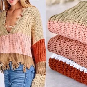 Sweaters - NEW! Colorblock V-Neck Cozy Knit Sweater